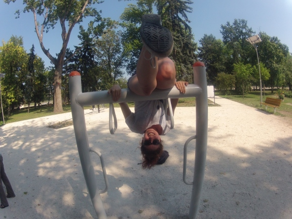 Crazy lady in the park