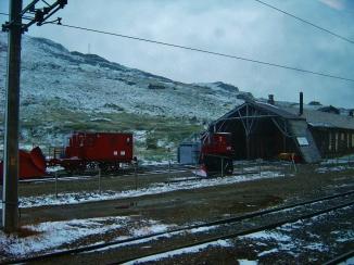 Snow on the train!