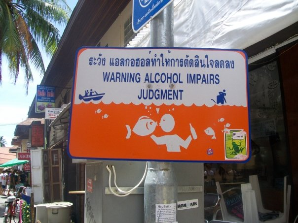 Thailand drunk sign to tourists