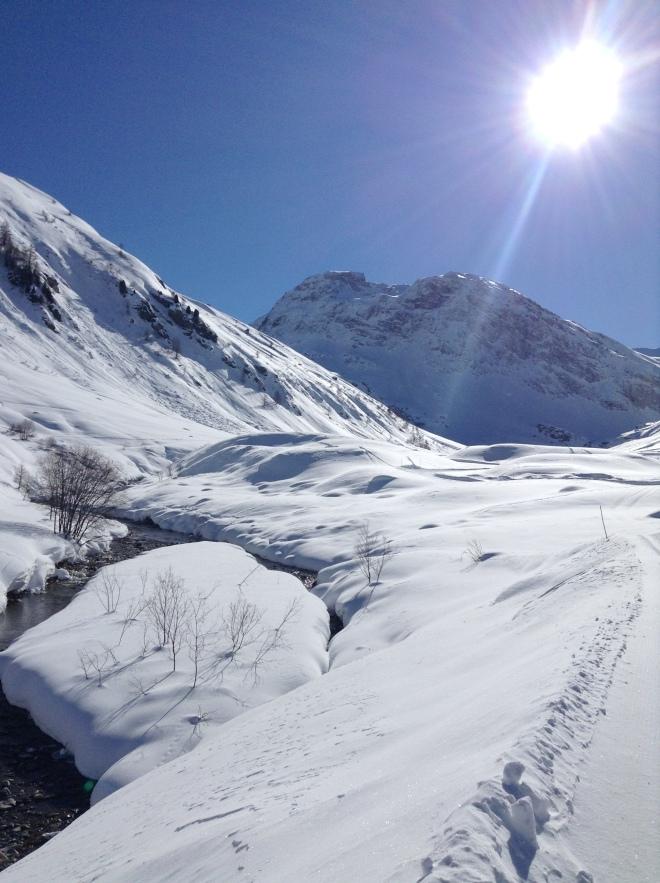 Sun shining near Val D'isere