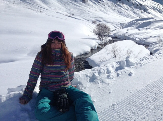 Chilling in the snow in the Alps