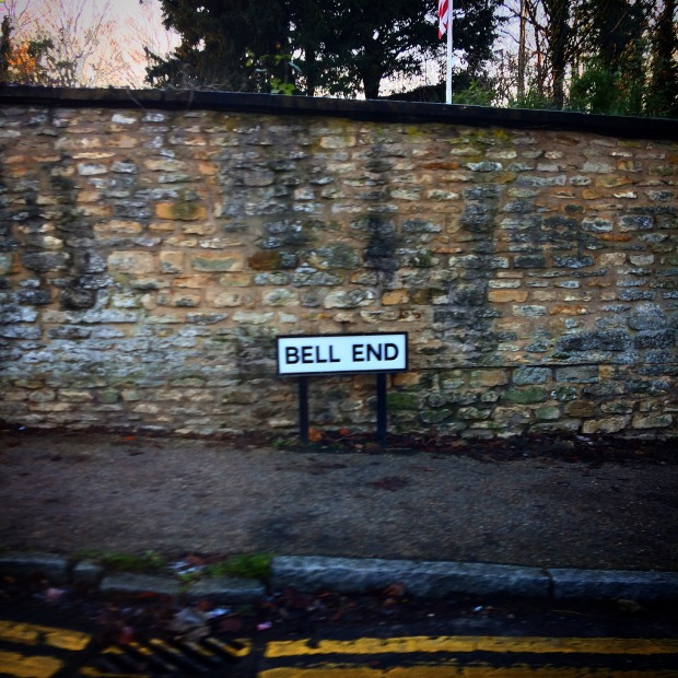 Bell End funny street sign in England